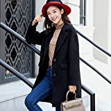 HJHKJHIU Ladies' Woolen Coat Single Row Long Suit Jacket Jacket Winter Long Sleeved Warm Coatblackxl