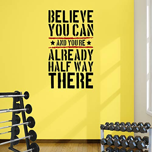 DesignDivil Glaube, Sie können Gym Motivational Wand Aufkleber Zitat Fitness Stärke 5Farbe Optionen, Black Text/red Stripes