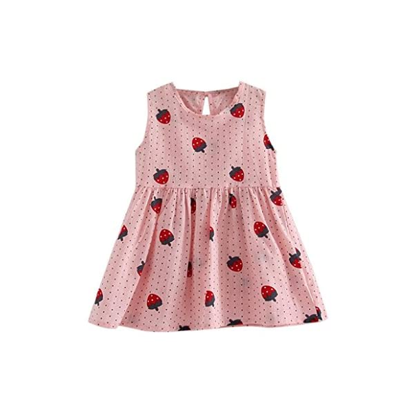 For 2-7 Years old Girls ,Clode® Cute Summer Toddler Baby Kids Girl Sleeveless Strawberry Print Sundress Princess Tutu Dresses Outfits Clothes for Holiday,School,Party