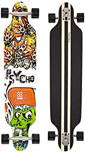 FunTomia Longboard Skateboard Board Skaten Cruiser Komplettboard mit ABEC-11 High Speed Kugellager (Modell Freerider - Farbe Rot Psycho)