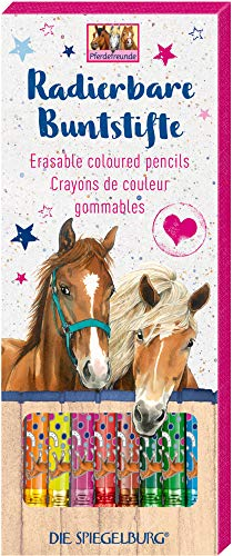 Radierbare Buntstifte 10Stück mit Glanzfolie Veredelt Pferde Motiv