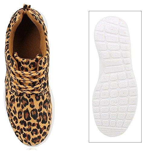 Leichtgewichtige Damen & Herren Sportschuhe | Bequeme Freizeit Laufschuhe | Activewear | Angenehmes Obermaterial aus Knit | Gr. 36-45 Leopard Hellbraun