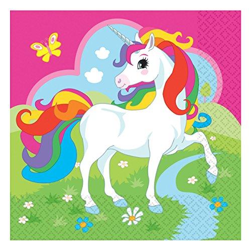 NBOGEN EINHORN * für Kindergeburtstag oder Motto-Party // Napkins Unicorn Traumwelt Fantasy Kinder Geburtstag (Farbige Servietten)