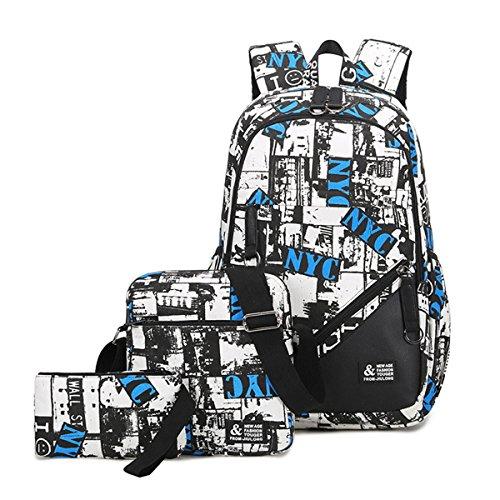 Mioy 3 Teile Set Jugendliche Schultasche Canvas Printing Rucksack Männer Schulrucksack Jungen 15 Zoll Laptop Backpack (Weiß)