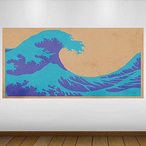 LagunaProject Extra Grande Interpretación Blue Wave Classic Japón Vinilo Póster - Mural Decoración - Etiqueta de la Pared -140cm x 70cm