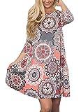 Sommerkleider Damen Casual 3/4-Arm T-Shirt Kleid Kurzen Blumen Bedrucktes Strandkleider mit Taschen (Grau, M)