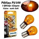 2x Philips Vision PY21W 12V BAU15s 12496NAB2 Orange High Tech Ersatz Halogen Birne für Blinker vorne hinten Seitenblinker E-geprüft