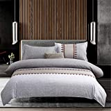 WANGCAN Bettbezug Bettwäsche-Set,mit Betttuch Kissenbezug in viele Farbe,Einfaches dreiteiliges C-8 220 * 240cm + 48 * 74 * 2cm
