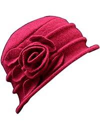 d2f4bed6fe98d Vintage Women Wool Church Cloche Flapper Hat Lady Bucket Winter Flower Cap