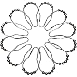 GIZGA®Anillos para cortina de ducha inoxidables de acabado de cromo Roller - 12 ganchos/Set