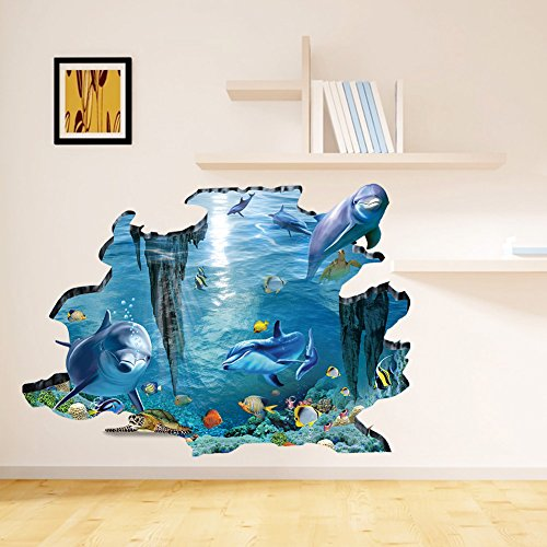 rainbow-fox-3d-sea-shark-and-fish-swing-in-blue-ocean-removable-wall-stickers-home-decor-3d-stickers