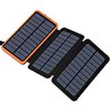 Hiluckey Solar-Ladegerät 24000 mAh tragbare Powerbank mit Dual USB 2.1 A Ausgang, Wasserdichte Akku-Packung, Handy-Ladegeräte für iPhone, Samsung, iPad, Huawei und Smartphone