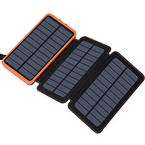 Hiluckey Solar Powerbank 24000mAh, Power Bank 3 Solar Panels Dual USB 2.1A wasserdichte Batterie Ladegerät für iPhone, Samsung, iPad, Android Smartphones (Usb-port Solar-panel)