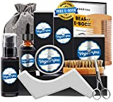 Kit Soins Barbe Hommes Complet Croissance,Entretien,Toilettage et Coupe -Shampoing Barbe,Huile Barbe,Baume Barbe,Brosse Barbe,Peigne Barbe,Ciseaux Barbe,Gabarit Barbe Coffret Idees Cadeau pour Homm