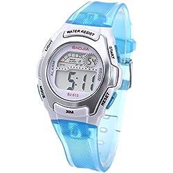 FACILLA® New LED Digital Alarm Clock Sport Children Boy Girl Watch Sky Blue Rubber Band