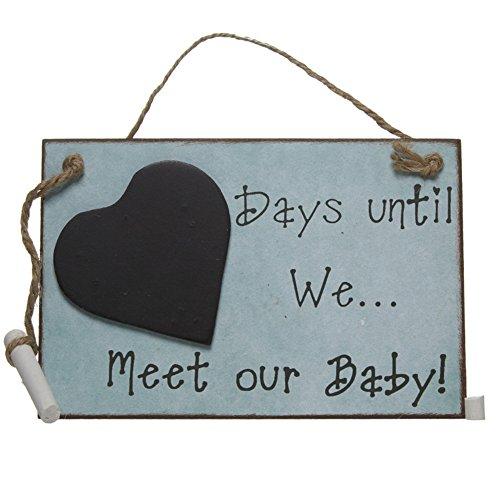 Wandverzierung aus Holz mit Tafel Days Until We Meet Our Baby (Einheitsgröße) (Blau)
