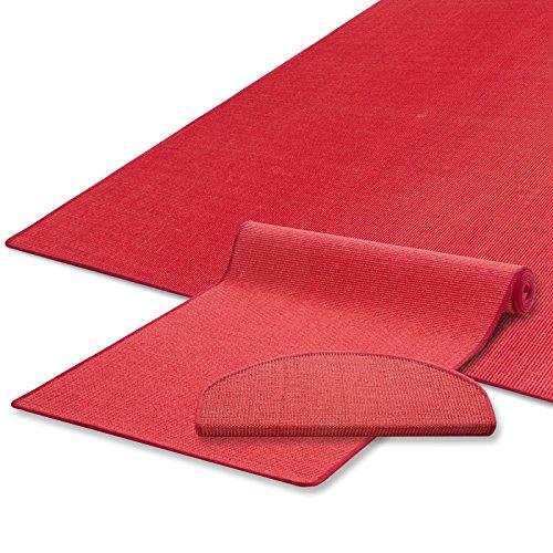 Sisal Teppich / Läufer | uni rot | Naturfaser | Qualitätsprodukt aus Deutschland | kombinierbar mit Stufenmatten | 19 Breiten und 18 Längen (80x250 cm)