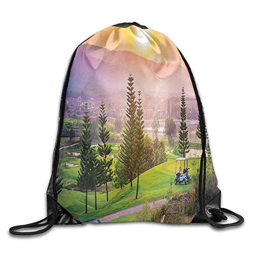 Naiyin Unisex Drawstring Backpack, Vibrant Golf Resort Park In Spring Season with Trees Sunset Hills and Valley Drawstring Gym Sack Sport Bag -