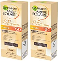 Garnier - Ambre Solaire - BB Crème Protectrice Visage et Décolleté FPS 50 - Teinte Claire - Peaux sensibles - Protection très haut indice -  50 ml - Lot de 2