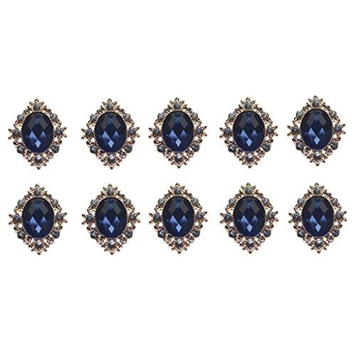 perfk 10er Set Vintage Retro Perlen Flatback Verzierungen Basteln Deko DIY Schmuck - Marine-Blau