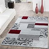 T&T Design Teppich Günstig Patchwork Design Modern Wohnzimmerteppich in Grau Rot Weiß, Größe:120x170 cm