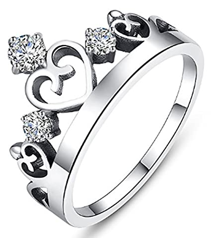 SaySure - 925 Sterling Silver Crown Forever Wedding Rings (SIZE : 8)