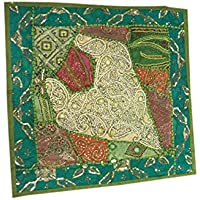 "Mogul Interior Pillow Shams Green Embroidered Patchwork Zari Sequin Cushion Covers 22"" x 22"""
