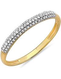 0.20 Carat (ctw) 18 ct Yellow Gold Round Diamond Ladies Bridal Wedding Stackable Eternity Band 1/5 CT