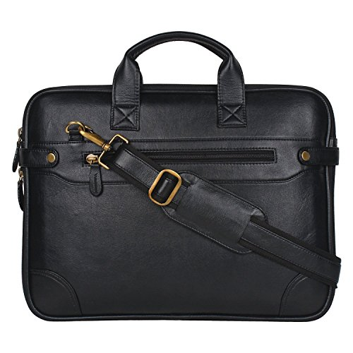 Attache 15.6 inch Synthetic Sleek Faux Leather Laptop and Tablet Bag – MacBook Pro, MacBook Air Laptop Bag (Black)