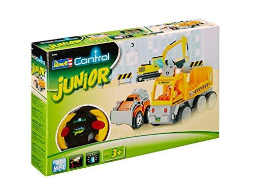 Revell Control Junior RC Car Transporter mit Mini-Bagger, ferngesteuertes Baufahrzeug mit 40 MHz Fernsteuerung, kindgerechte Gestaltung, ab 3, zum Bauen und Spielen, mit Figur, LED-Blinklichtern 23003 (Lego Mini Cars)