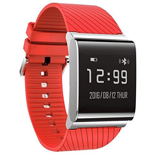 DDUWIN Fitness Tracker, Bluetooth 4.0 Wasserdichte Smart Armband Bands Sportuhr Bund mit Herzfrequenzmesser und Blutdruckmessgerät für IPhone Android Smartphone , sport red