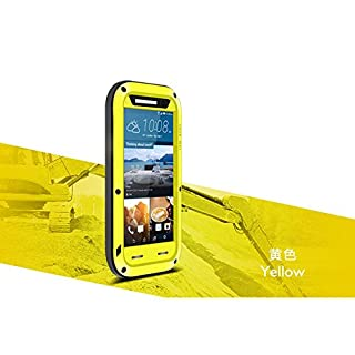 LOVE MEI Aluminum Metal Waterproof Case for HTC One M9, with Shockproof Cover Gorilla Glass *Two-Years Warranty* Yelow