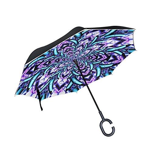 TIZORAX Paraguas Recto de Doble Capa invertido con Mandala Azul Púrpura para Uso en Coche