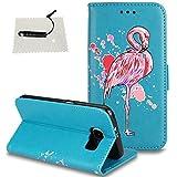 TOCASO Schutzhülle Flamingo Glitzern Blumen für Samsung Galaxy S6 Edge Leder Wallet Hülle Briefcase PU Leder Tasche Flip Cover Case Bunt tasche Handyhülle Shell Schale Magnet - Flamingo Blau