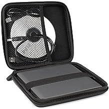 Kosee Funda Rígida Portátil de Viaje para Disco USB / Grabador o Lector de CD / DVD / Blu-Ray - Compatible con Apple / Mac / OSx / Windows / Vista / XP / 8 / 10 / Linux / LG / Toshiba / Samsung / Asus / Sony / Pioneer / Panasonic - Negra