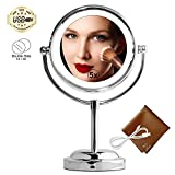 MY CANARY 6in LED Makeup Mirror Table Lamps, Double-Sided Lighted Vanity Mirror, 5