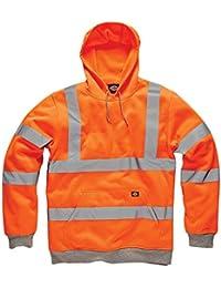 Dickies Hi Viz Vis sudadera con capucha de alta visibilidad seguridad trabajo chaqueta con capucha dos tonos, reflectante, forro polar, fácil de poner, tamaño grande