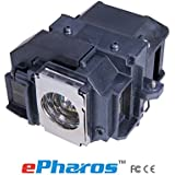EPharos® ELPLP58 / V13H010L58 High Quality Compatible Bulb Inside Replacement Lamp With Housing For EPSON EX3200/EX5200/EX7200;EPSON PowerLite 1220/1260/S9/X9/S10+;EPSON VS200;EPSON EB-S10/S9/S92/W10/W9/X10/X9/X92. EPSON H367A/H368A/H369A/ H375A/H391A