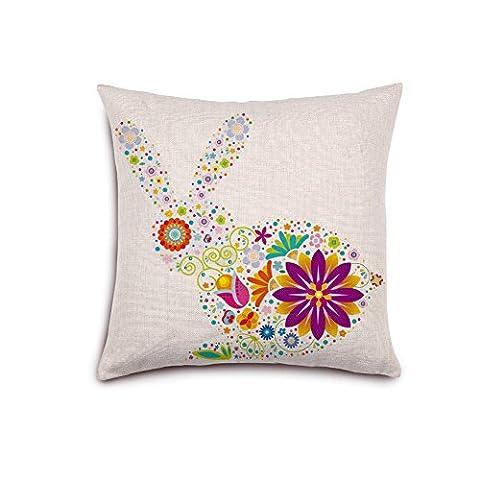 zonman® personnalisée Creative puzzle fleur papillon mignon lapin motif couverture Taie d'oreiller Housse de coussin canapé décoratif 45,7x 45,7cm, Coton/lin, beige, A-2