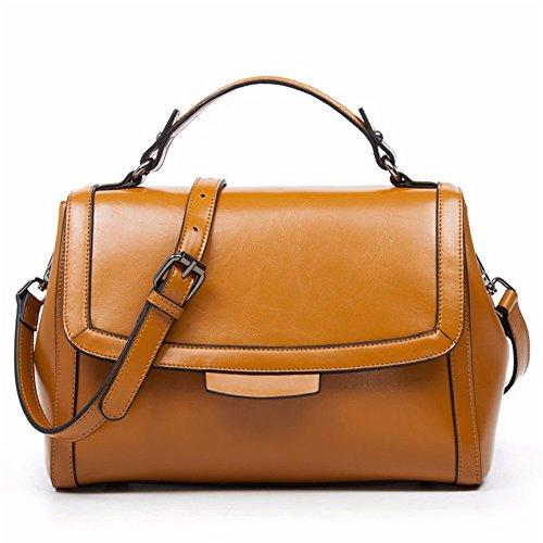 Sunbobo Einfache Retro magnetische Kelly Bag Square Leder Schultertasche Messenger Bag, Erde Gelb (Gelb Erde)