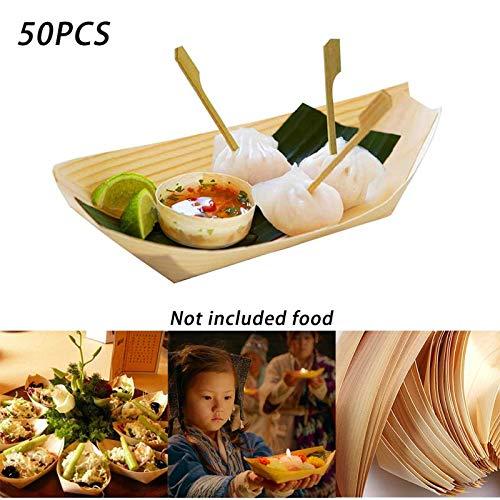 50 pezzi/lotto monouso in legno piatto in legno sushi barca vassoio di cibo vassoio di legno vassoio di frutta rustico partito di nozze piastre di servizio