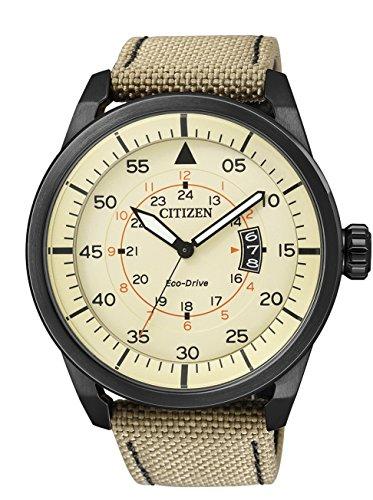 Citizen  AW1365-19P – Reloj de cuarzo para hombre, con correa de cuero, color beige