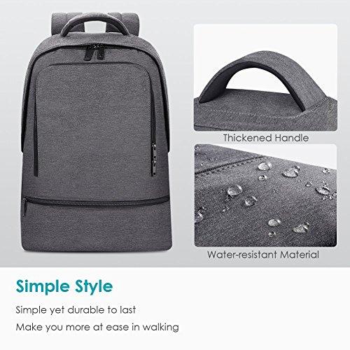 REYLEO Zaino per PC, Laptop Portatile Backpack con Porta USB Casual Impermeabile Unisex per La Scuola e Il Lavoro Fino a 26L (Grigio) - 3