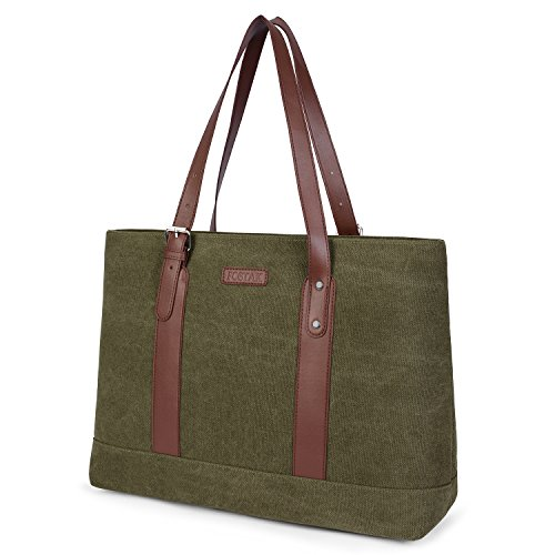 UtoteBag Damen 15,6 Zoll Laptoptasche Schultertasche Laptop Handtasche Tote Bag Frauen Business Aktentasche Leicht Segeltuch Notebooktasche für Laptop/Notebook/MacBook,Canvas Grün