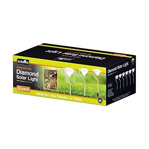 Confezione da 6 acciaio inox ad energia solare diamante palo illuminazione da giardino bordo lanterne