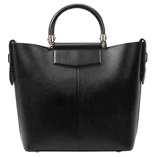 SAIERLONG Nouveau Femmes Noir Genuine Leather Deluxe Sacs à main Sacs portés épaule Noir