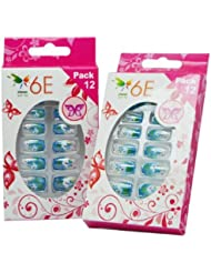 6E Acrylic Nails Set Blue Stars Set of 12 Pack of 2 preiswert