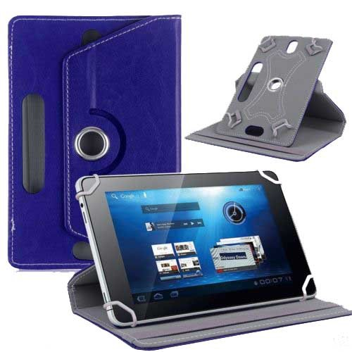 """Hello Zone Exclusive 360° Rotating 8"""" Inch Flip Case Cover Book Cover for Micromax Canvas P666 -Blue"""