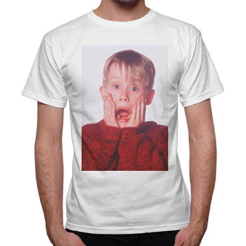 T-Shirt Uomo Urlo Kevin Mccallister Mamma Ho Perso L'Aereo - Bianco