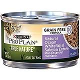 Purina Pro Plan Alimentos para gatos mojados, verdadera naturaleza, sin grano, peces blancos oceánicos y cena de salmón, latón de 91,44 ml, paquete de 24